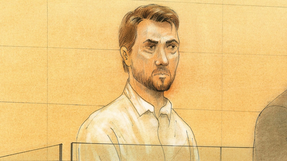 This sketch shows  Dellen Millard appearing in a Toronto court on Wednesday, May 15, 2013. (John Mantha / CTV News)
