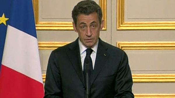 French President Nicolas Sarkozy addresses media on Libya resolutions, Saturday, March 19, 2011.