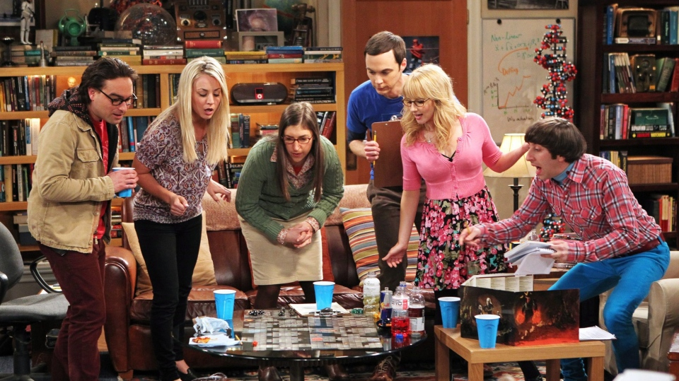 Johnny Galecki, Kaley Cuoco, Mayim Bialik, Jim Parsons, Melissa Rauch and Simon Helberg, in the episode 'The Love Spell Potential,' on 'The Big Bang Theory.' (CBS)