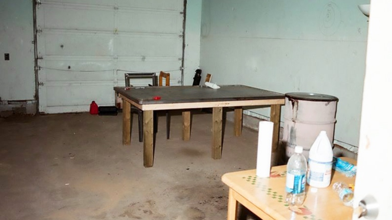 Prosecutors entered this photo of Mark Twitchell's garage into evidence at Twitchell' trial in Edmonton on Friday, March 18, 2011. (ho / THE CANADIAN PRESS)
