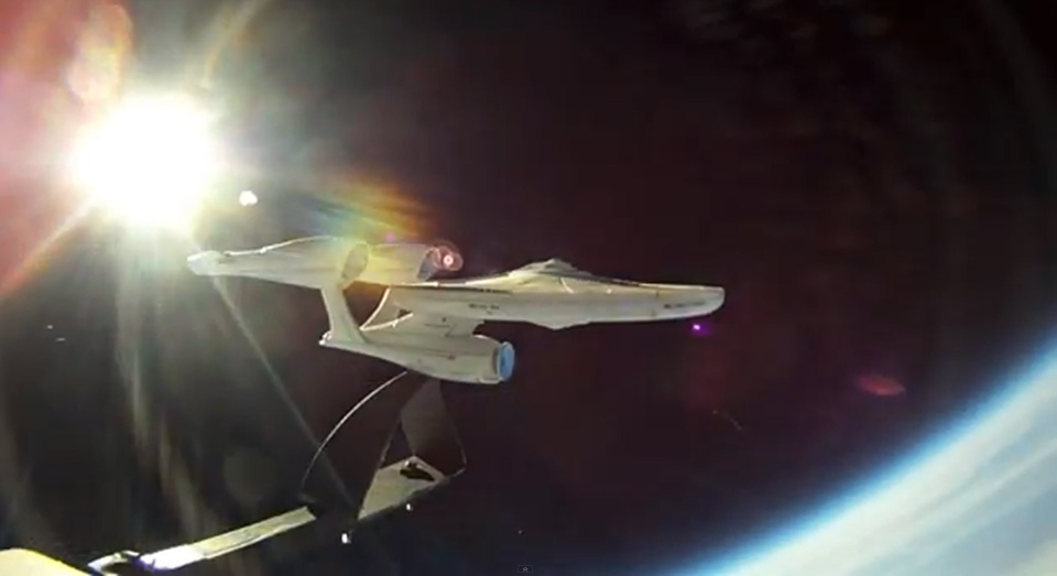 Steve Schnier launched a miniature model of the U.S.S. Enterprise into the stratosphere at the end of April, and posted a video of the mission on YouTube. (YouTube)