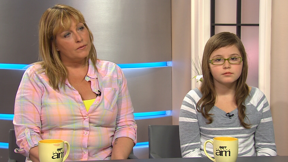 Jill Trahan-Hardy, left, and her daughter Harley Campos appear on Canada AM from CTV studios in Toronto, Thursday, May 16, 2013.