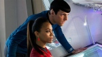 Zoe Saldana, left, as Uhura and Zachary Quinto as Spock in a scene in from Paramount Pictures Entertainment's 'Star Trek Into Darkness'