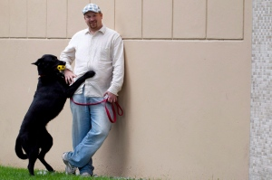 Robert MacKay is seen with his dog Cheddar in Vancouver, Wednesday, June 13, 2012. (Jonathan Hayward / THE CANADIAN PRESS)