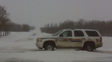 RCMP presence remains at the scene of the takedown on March 20th, 2011.