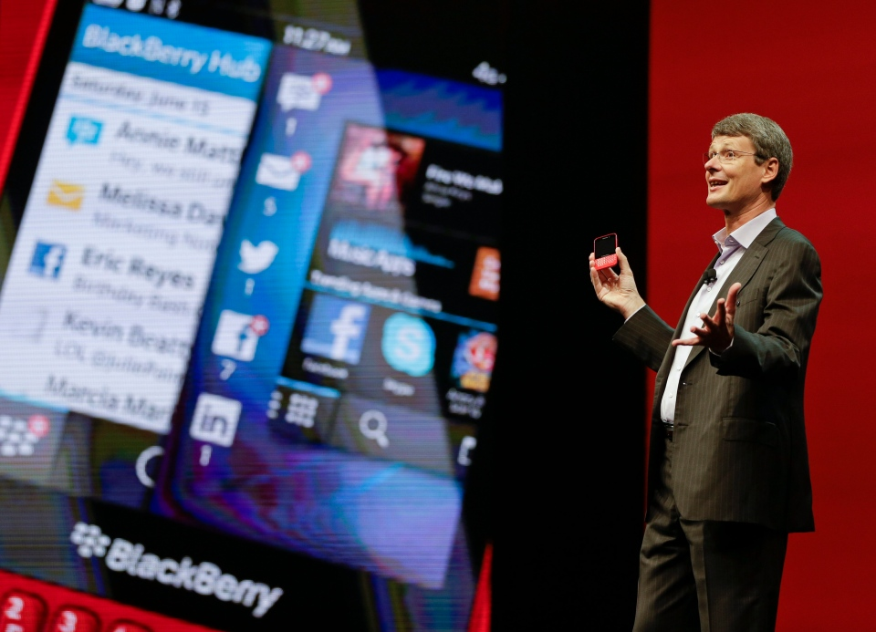 Thorsten Heins, president and CEO at BlackBerry speaks at Research In Motion's annual conference in Orlando, Fla., Tuesday, May 14, 2013. (AP / John Raoux)