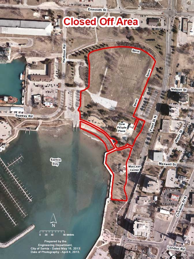 A map provided by the City of Sarnia shows the area of Centennial Park that will be closed to the public.