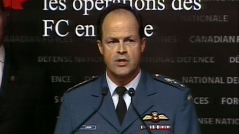 Maj.-Gen Tom Lawson, the assistant chief of the Air Staff, outlines Canada�s Libyan strategy from Ottawa, Monday, March 17, 2011.