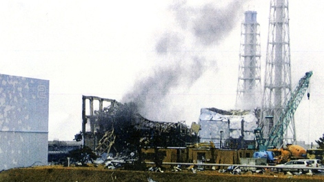 Grey smoke rises from Unit 3 of the tsunami-stricken Fukushima Dai-ichi nuclear power plant in Okumamachi, Fukushima Prefecture, Japan, Monday, March 21, 2011. (Tokyo Electric Power Co.)