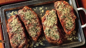 New York strip steaks with parmesan-basil crust an