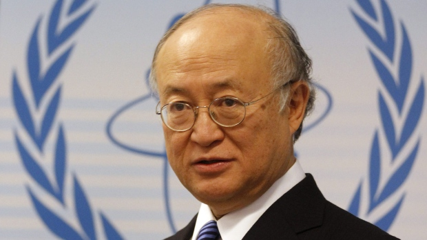 Director General of the International Atomic Energy Agency, IAEA, Yukiya Amano from Japan speaks during a news conference after an IAEA board meeting at the International Center, in Vienna, Austria, on Monday, March 21, 2011. (AP Photo/Ronald Zak)