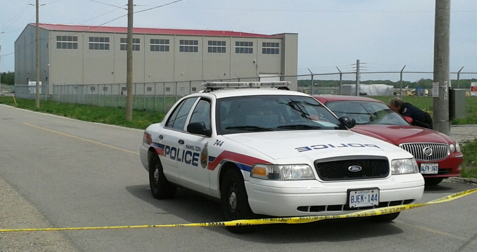 A Hamilton Police Service cruiser sits outside a hangar at the Region of Waterloo International Airport on Friday, May 17, 2013. (Terry Kelly / CTV Kitchener)