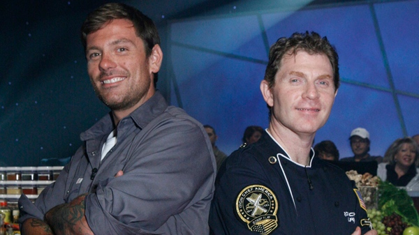 Montreal chef Chuck Hughes of TV's 'Chuck's Day Off,' left, and cooking superstar Bobby Flay on the set of 'Iron Chef America.'