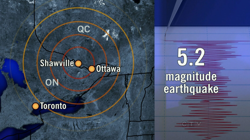 Earthquakes Canada reported a 5.2 magnitude earthquake hit near Shawville, Quebec Friday, May 17, 2013.