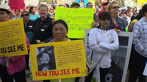 Hundreds turned out to a rally at the Legislature Wednesday to protest provincial cuts for those with developmental disabilities.