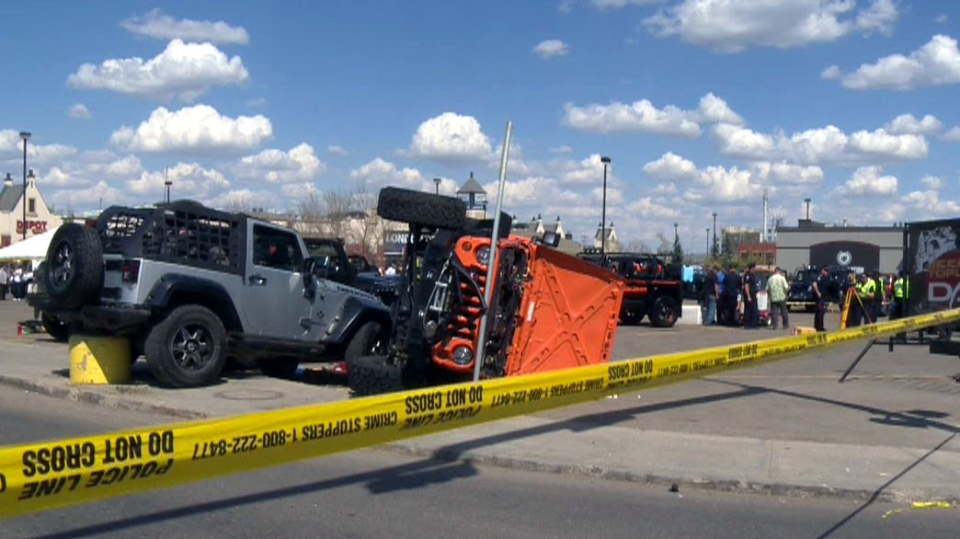 A Jeep lost control and struck a spectator at an Edmonton fundraising event on Saturday, May 18, 2013.