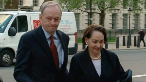 Jean Chretien and his wife Aline arrive in London on Wednesday, May 15, 2013. (CTV National News)