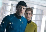 "Zachary Quinto, left, as Spock and Chris Pine as Kirk are shown in a scene in the movie, ""Star Trek Into Darkness,"" from Paramount Pictures and Skydance Productions. (Paramount Pictures / Zade Rosenthal)"