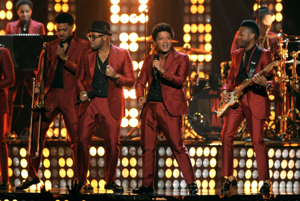 Bruno Mars, third from left, performs at the Billboard Music Awards at the MGM Grand Garden Arena in Las Vegas on Sunday, May 19, 2013. (Chris Pizzello / Invision)