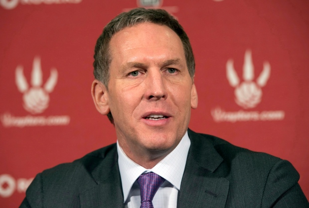 Toronto Raptors GM Bryan Colangelo speaks at his season end news conference in Toronto on Monday April 22, 2013. (Frank Gunn / THE CANADIAN PRESS)