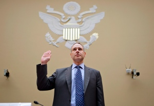 Internal Revenue Service (IRS) Commissioner Douglas Shulman is sworn in on Capitol Hill in Washington, Thursday, Aug. 2, 2012, prior to testifying before the House Oversight Committee. (AP Photo/J. Scott Applewhite)