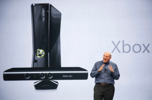 In this June 18, 2012 photo, Microsoft CEO Steve Ballmer comments on Microsoft Xbox before unveiling its new Surface, a tablet computer to compete with Apple's iPad at Hollywood's Milk Studios in Los Angeles. (AP Photo/Damian Dovarganes, File)