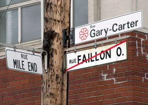 The city of Montreal has changed the name of Faillon street in front of Jarry Park, the former home of the Montreal Expos, to Gary Carter Street in honour of former Expos Hall of Famer Gary Carter, Tuesday, May 21, 2013 in Montreal. THE CANADIAN PRESS/Ryan Remiorz