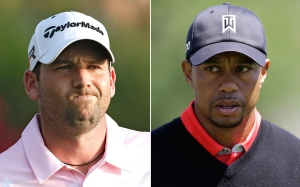 FILE - At left, in a May 5, 2013 file photo, Sergio Garcia grimaces during The Players Championshop golf tournament in Ponte Vedra Beach, Fla. At right, in a March 25, 2013 file photo, Tiger Woods walks to the 16th green during the final round of the Arnold Palmer Invitational golf tournament in Orlando, Fla. (AP Photo/File)