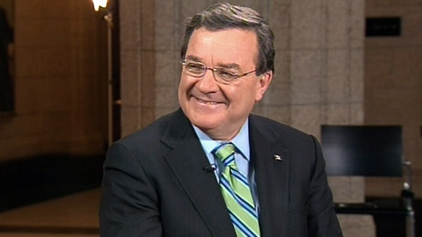 Federal Finance Minister Jim Flaherty appears on CTV's Canada AM from Parliament Hill in Ottawa, Wednesday, March 23, 2011.