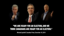The federal leaders of the Liberals, NDP and Bloc are targeted in the latest Conservative attack ad released Wednesday, March 23, 2011
