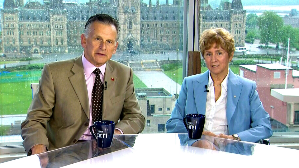 Conservative senators Larry Smith and Nancy Greene Raine appear on Canada AM from CTV studios in Ottawa, Thursday, May 23, 2013.