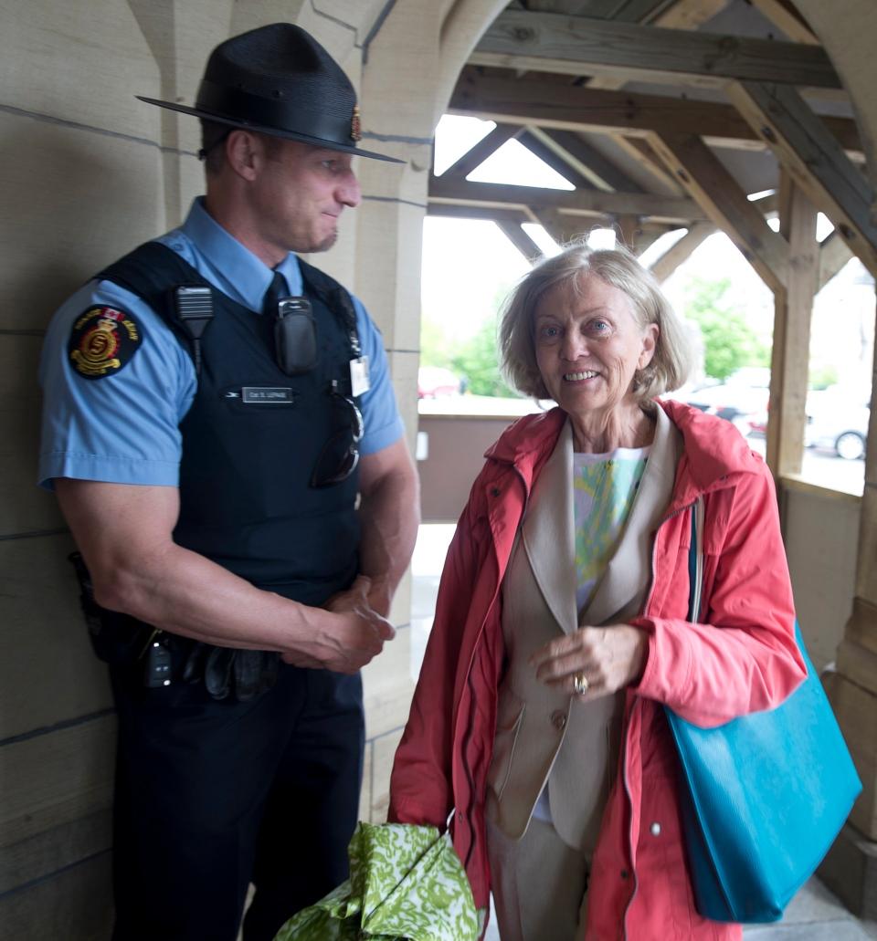 Senator Carolyn Stewart-Olsen arrives on Parliament Hill on Thursday, May 23, 2013. (Adrian Wyld / THE CANADIAN PRESS)