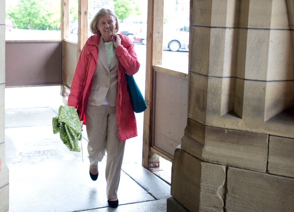 Senator Carolyn Stewart-Olsen arrives on Parliament Hill on Thursday May 23, 2013. (Adrian Wyld / THE CANADIAN PRESS)