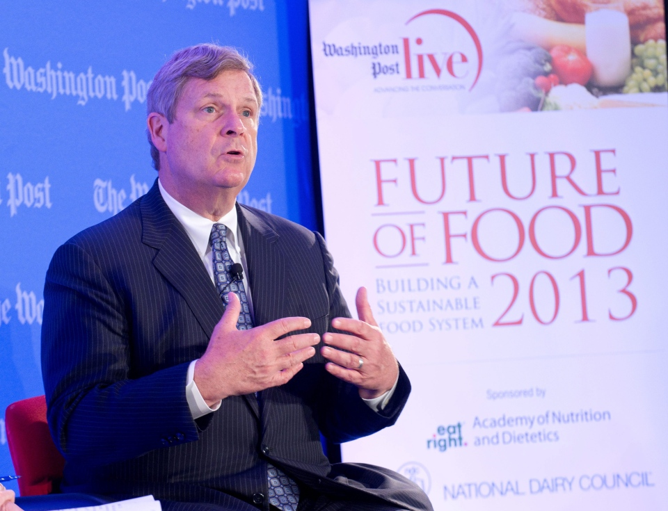 Agriculture Secretary Tom Vilsack speaks about the future of food and nutrition security in the 21st century at the Washington Post in Washington, Wednesday, May 22, 2013. (AP / John Harrington, National Dairy Council)