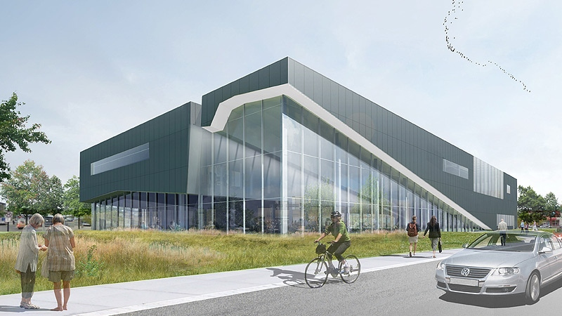 An artists' rendition shows what the Mill Woods Library, Seniors and Multicultural Centre will look like, the building is expected to be open to the public in 2014.