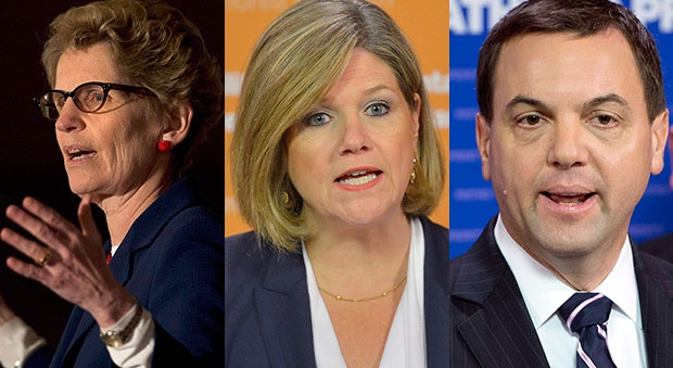 From left to right, Ontario Liberal Leader Kathleen Wynne, Ontario NDP Leader Andrea Horwath and Ontario PC Leader Tim Hudak are shown in this combination photo. (Nathan Denette / Frank Gunn / THE CANADIAN PRESS)