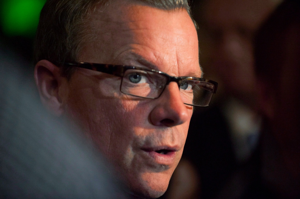 Premier Brad Wall talks to media on, Tuesday, October 16, 2012. (Liam Richards / THE CANADIAN )