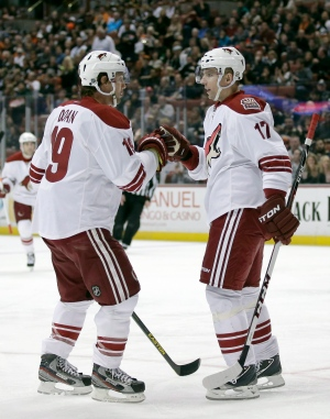 Phoenix Coyotes right wing Radim Vrbata, right, celebrates his goal with teammate Shane Doan during the first period of an NHL game against the Anaheim Ducks in Anaheim, Calif., Saturday, April 27, 2013. (AP / Chris Carlson)