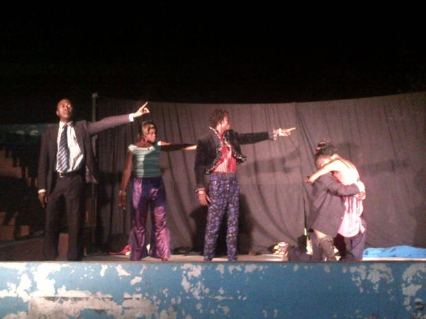 Performers at Kinshasa's Marabout Theatre act out the history of the Congo. (Lisa LaFlamme)