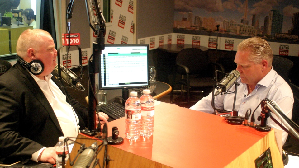 Toronto Mayor Rob Ford and his brother, Doug, host their weekly radio talk show Sunday, May 26, 2013. (NEWSTALK 1010)