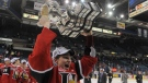 Halifax Mooseheads centre Nathan MacKinnon raises the Memorial Cup after the Mooseheads defeated the Portland Winterhawks in the Memorial Cup final. (Liam Richards/Canadian Press)