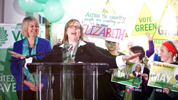 Green Party Leader Elizabeth May speaks to party supporters during the kick-off of her national election campaign at Sea Cider Farm and Ciderhouse in Saanichton, near Victoria, British Columbia, on Saturday, March 26, 2011. (Deddeda Stemler / THE CANADIAN PRESS)