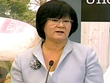 International Co-operation Minister Bev Oda announces federal funding for the UN Food Program in Ottawa on Wednesday, April 30, 2008.