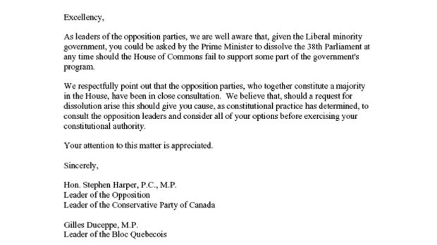 The Letter Signed By Conservative Leader Stephen Harper Bloc Quebecois Gilles Duceppe And NDP