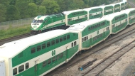 A file image of GO trains.