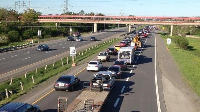 Gridlock on Highway 174 westbound as LRT construction begins
