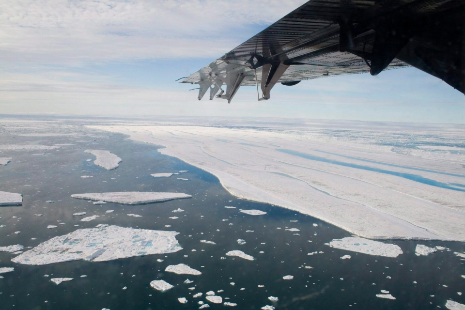 A chunk of ice is shown drifting after it separated from the Ward Hunt Ice Shelf off the north coast of Ellesmere Island in Canada's far north, in this July 27, 2008 file photo. (Sam Soja / THE CANADIAN PRESS)