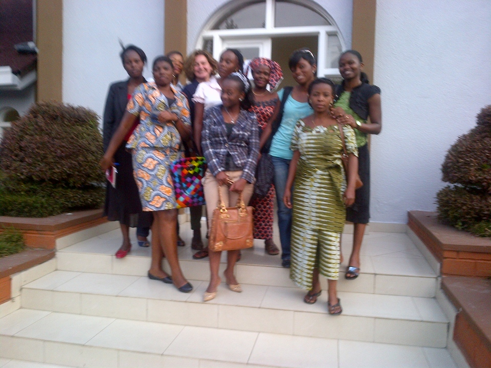 Lisa LaFlamme with participants of JHR's workshop for the Goma women's press corps.