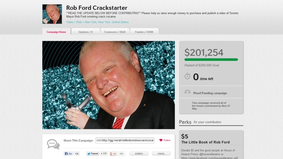 Roughly $200,000 raised in the hopes of buying an alleged video appearing to show Toronto Mayor Rob Ford smoking crack cocaine will instead be going to several Canadian organizations.