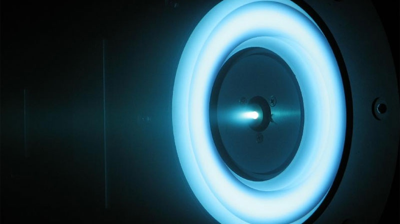 "This image shows a ""cutting-edge solar-electric propulsion thruster"" in development at NASA's Jet Propulsion Laboratory, in Pasadena, Calif. (NASA)"